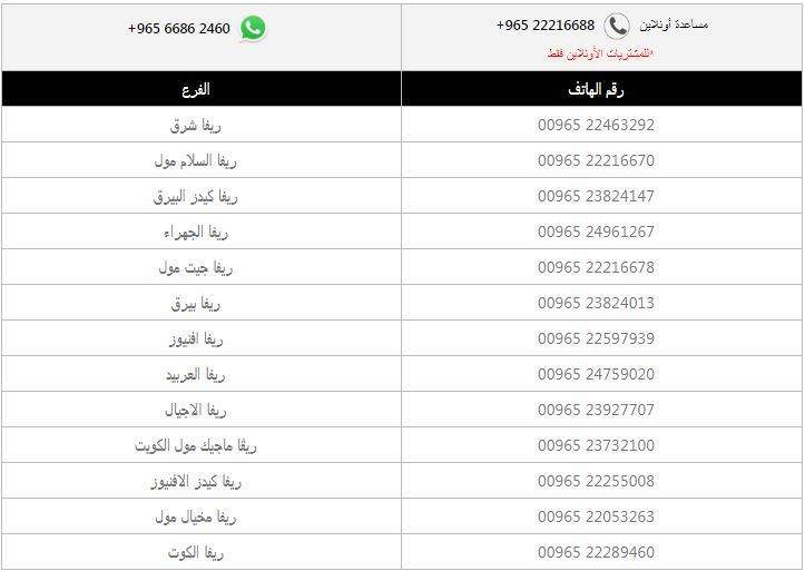 رقم فروع ريفا الكويت